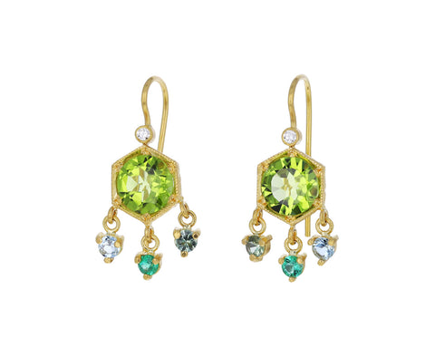 Peridot and Sapphire Hexagonal Earrings