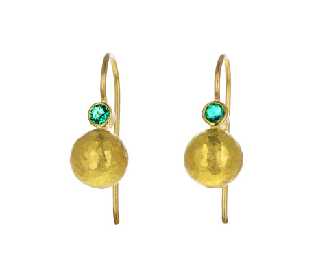 Colombian Emerald Sphere Drop Earrings