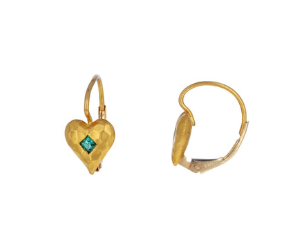 Emerald Tiny Heart Earrings