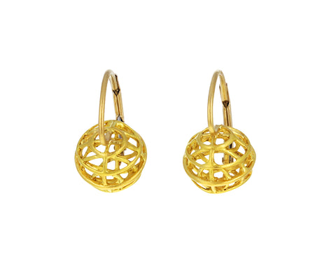Gold Tiny Caged Sphere Earrings