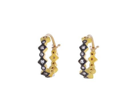 Blackened Gold Geometric Hoop Earrings