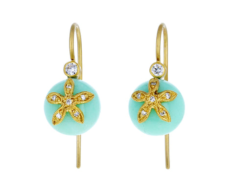 Chrysoprase Flower Cap Earrings