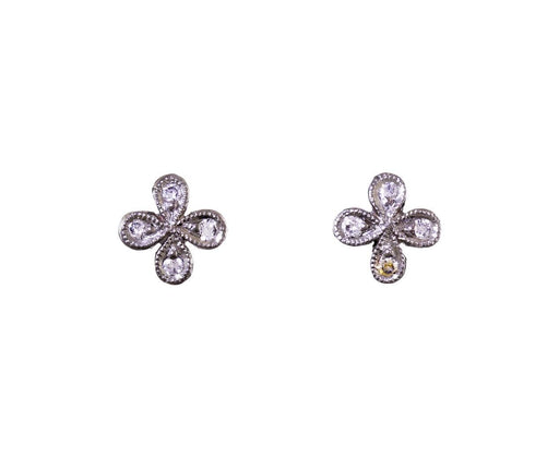 Diamond 4-Petal Flower Earrings - TWISTonline