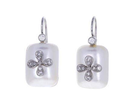 Mabé Pearl 4-Petal Flower Earrings