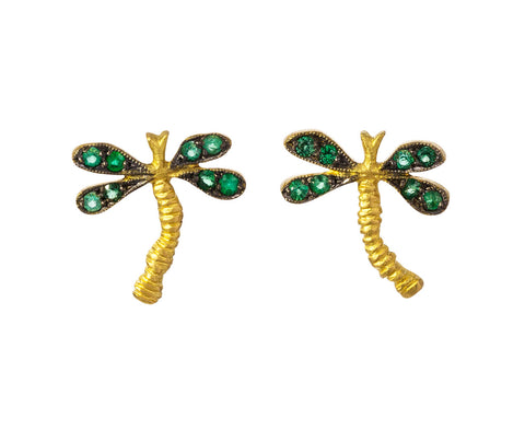 Emerald Dragonfly Earrings