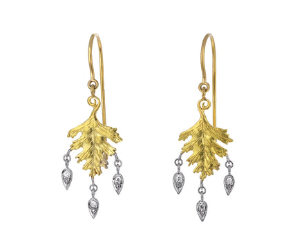 Diamond Dewdrop Small Leaf Earrings