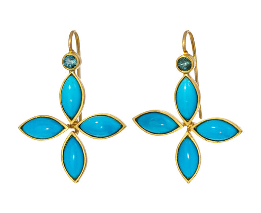 Turquoise and Tourmaline Floating Star Earrings - TWISTonline