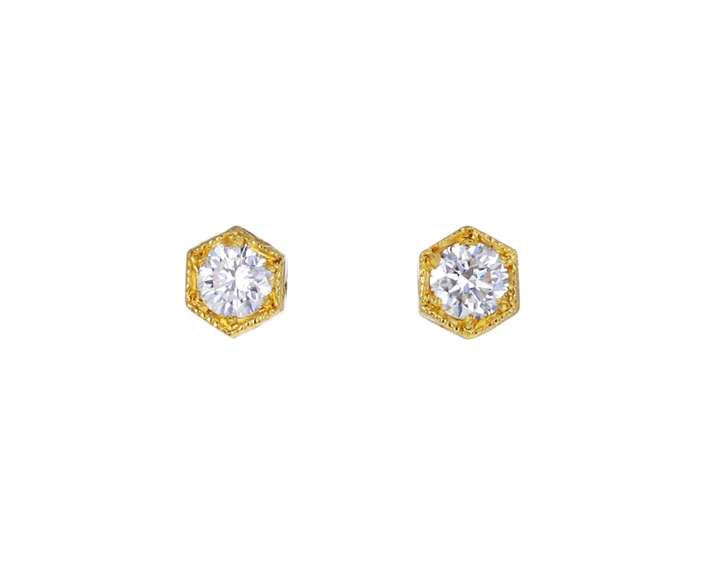 Gold Hexagonal Bezel Set Earrings