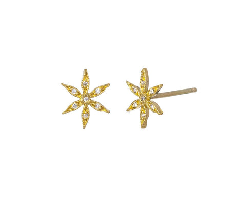 Gold Star Flower Earrrings zoom 1_cathy_waterman_gold_diamond_star_flower_earrings