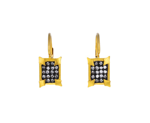 Blackened Diamond Rectangle Earrings