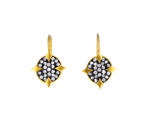 Blackened Diamond Oval Earrings
