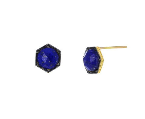 Lapis Hexagonal Stud Earrings