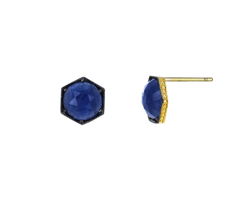 Blue Sapphire Hexagonal Earrings