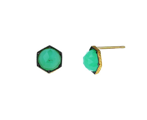Chrysoprase Hexagonal Earrings