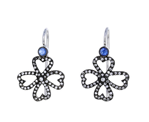 Blue Sapphire and Diamond Clover Earrings - TWISTonline