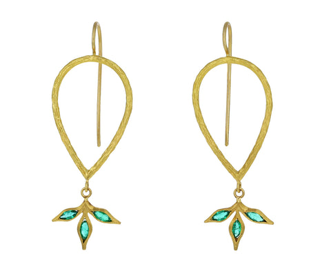 Emerald Leaf Branch Earrings