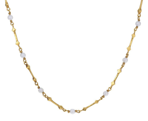 Cultured White Pearl Double Arrow Chain zoom 1_cathy_waterman_gold_pearl_double_arrow_necklace