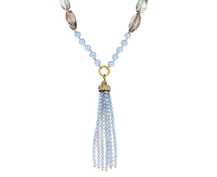 Sunstone and Pearl Meditation Necklace
