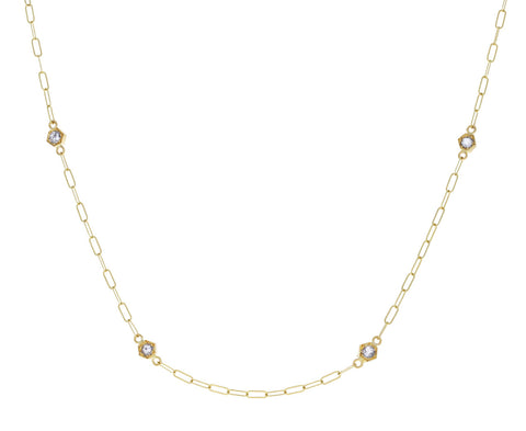 Double Set Hexagonal Diamond Chain Necklace