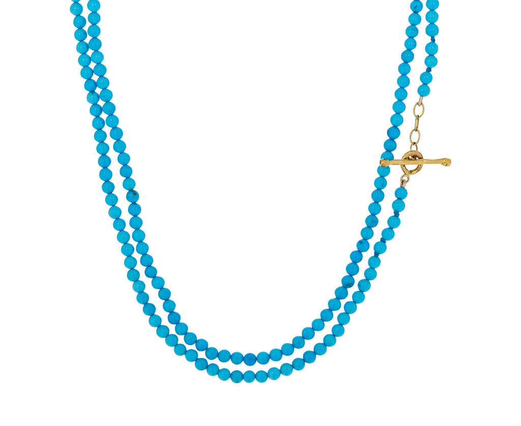 Long Turquoise Bead Double Strand Necklace - TWISTonline