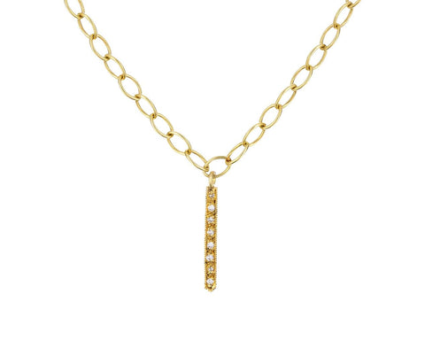 Single Diamond Fringe Pendant Necklace - TWISTonline