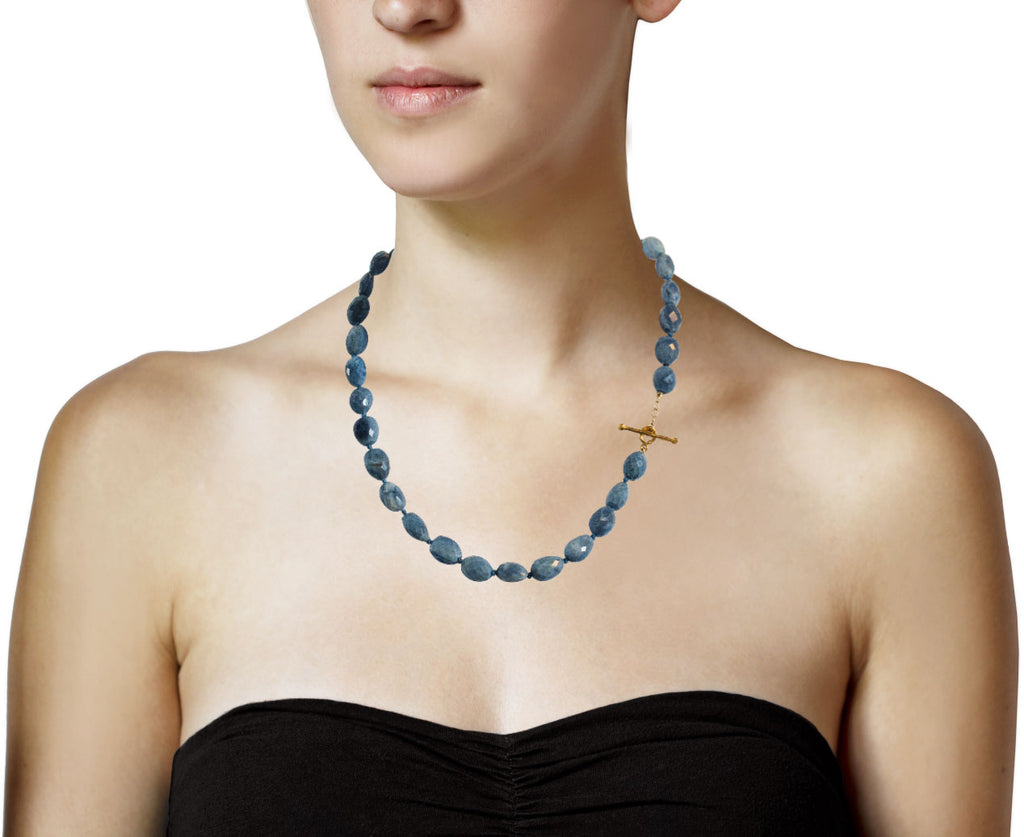 Blue Opal Bead Necklace