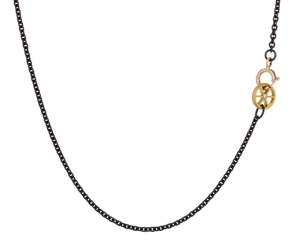 Blackened Stainless Steel Chain with Gold Diamond Wheel Clasp zoom 1_cathy_waterman_gold_steel_diamond_wheel_necklace