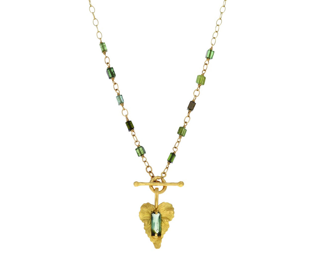 Green Tourmaline Leaf Necklace
