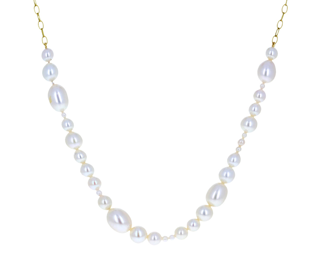 Mixed Akoya Pearl Tiny Lacy Chain Necklace