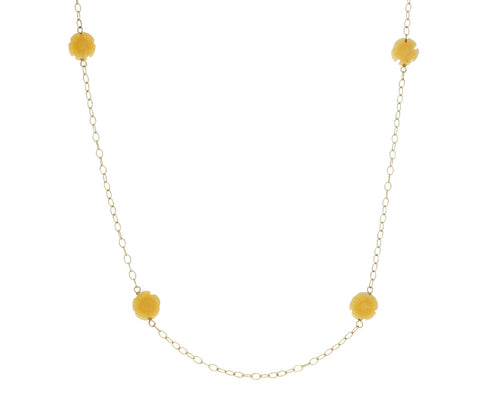 Yellow Jade Flower Chain Necklace
