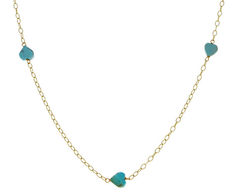 Turquoise Heart Chain Necklace