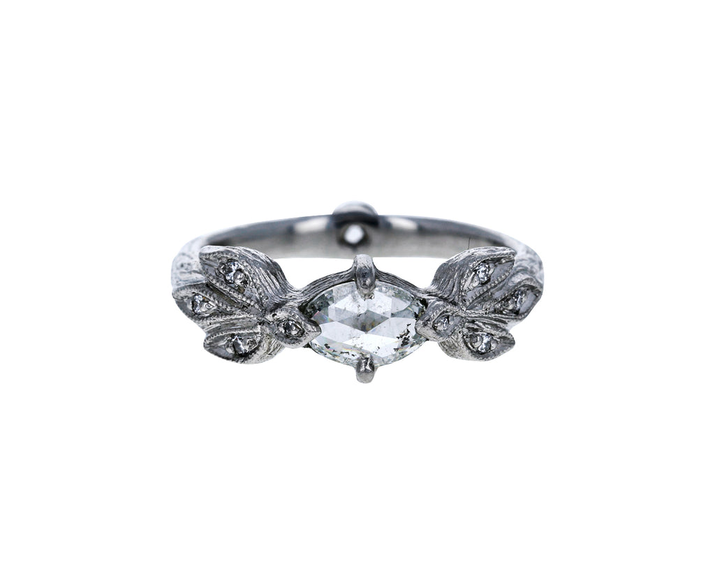 Diamond Three Leaf Side Ring