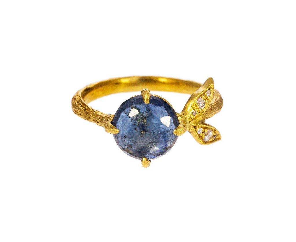 Blue Sapphire Diamond Leaf Ring - TWISTonline