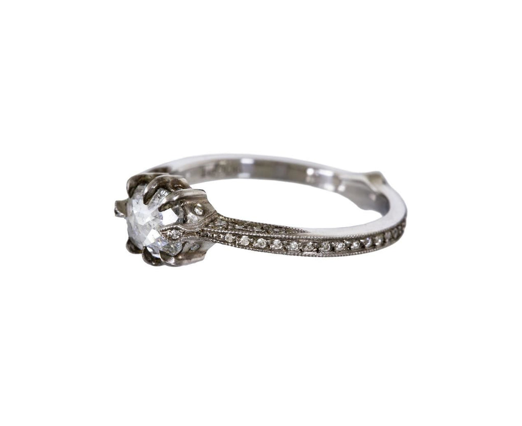 Rose Cut Diamond Cat Claw Solitaire zoom 2_cathy_waterman_platinum_diamond_cat_claw_ring