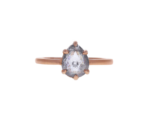 Pear Shaped Rustic Diamond Cat Claw Prong Solitaire
