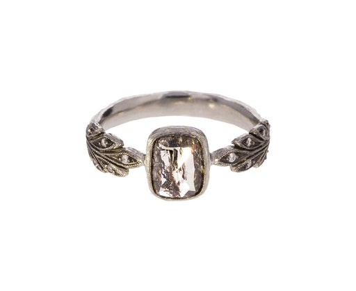 Black and White Diamond Leafside Ring zoom 1_cathy_waterman_platinum_diamond_leafside_ring