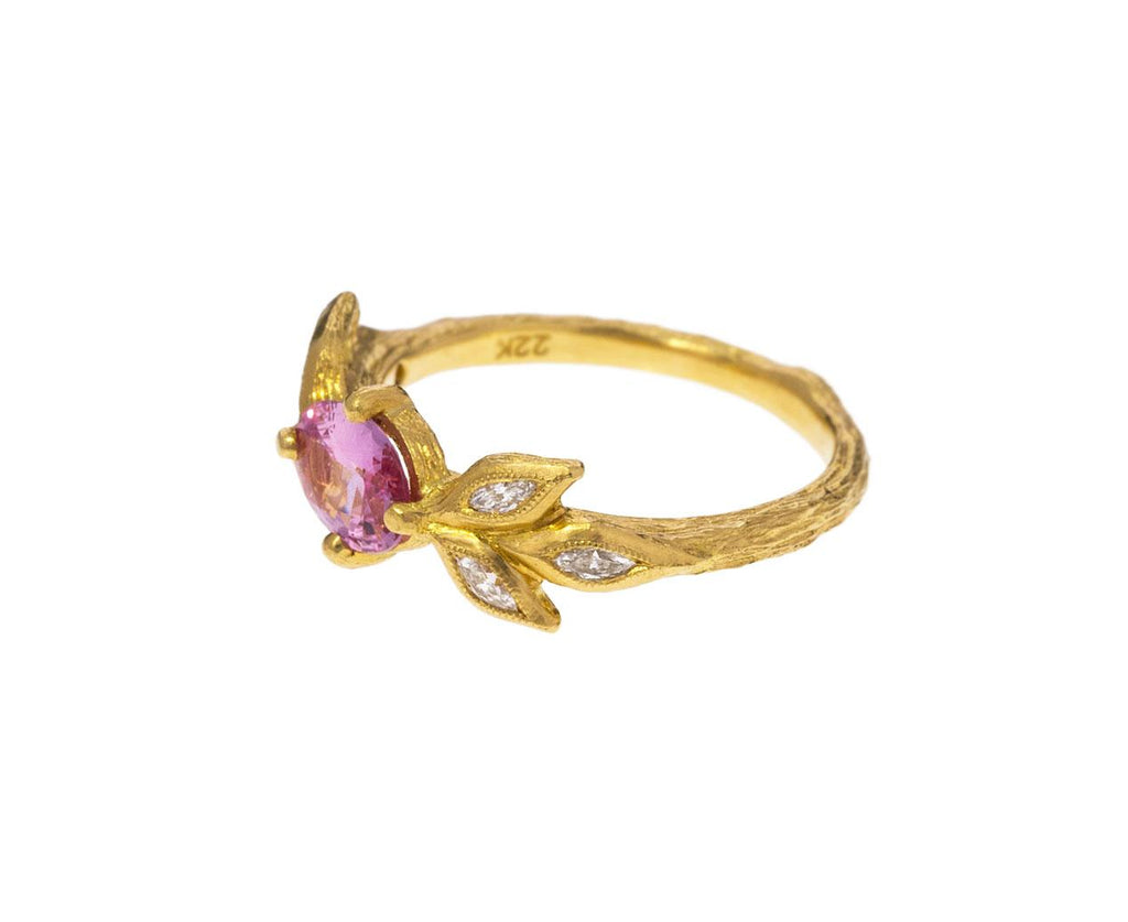 Pink Sapphire Marquise Diamond Leaf Ring - TWISTonline