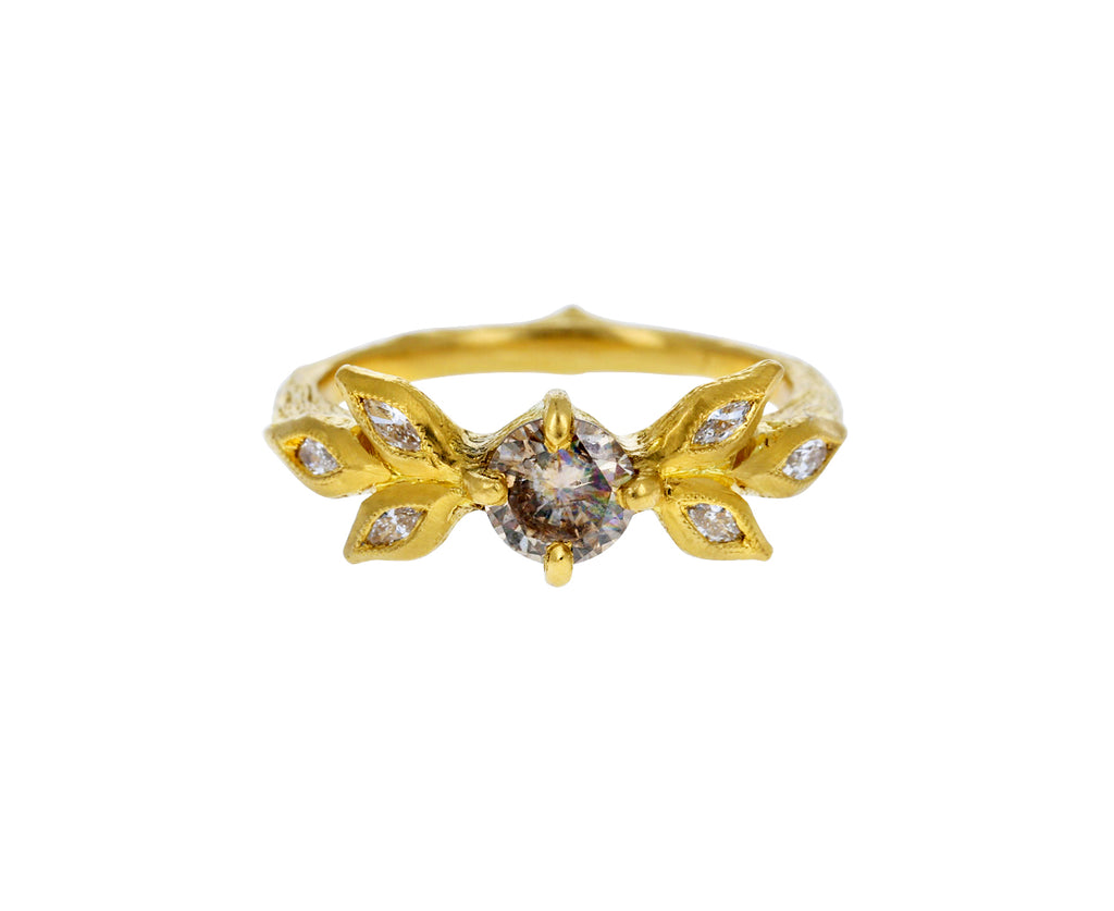 Champagne Diamond Marquise Leaf Ring