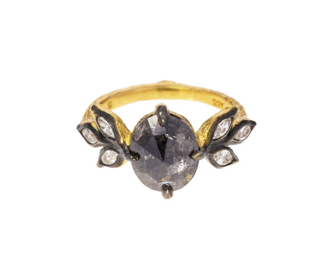 Black Diamond Marquise Leaf Ring
