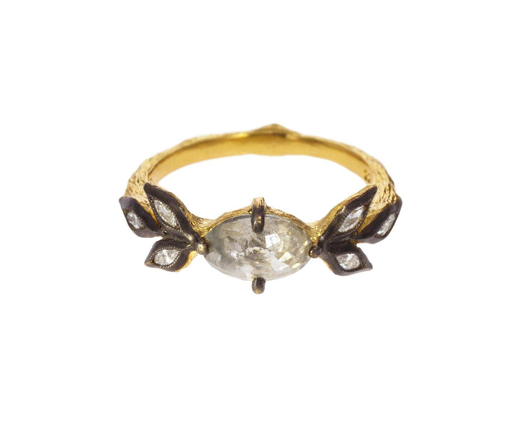 Rustic Diamond Marquise Leaf Ring zoom 1_cathy_waterman_gold_diamond_leaf_ring