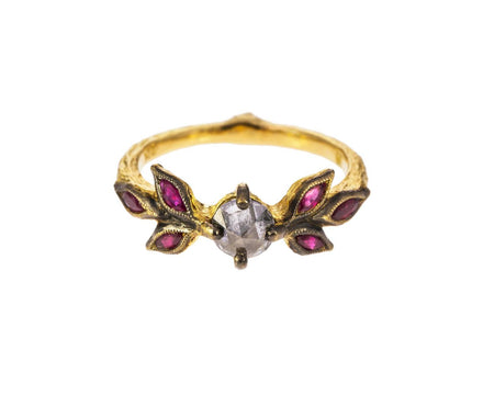 Black and White Diamond Ruby Marquise Leaf Ring - TWISTonline