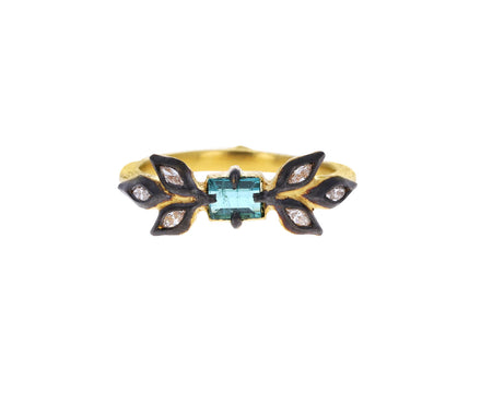 Blue Green Tourmaline and Marquise Diamond Leaf Ring