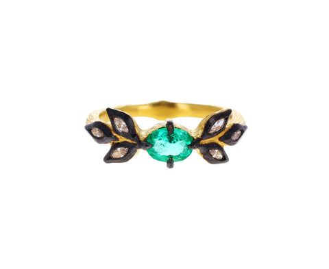 Emerald and Marquise Diamond Leaf Ring