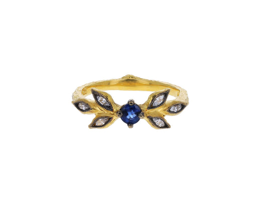 Blue Sapphire Marquis Leaf Ring