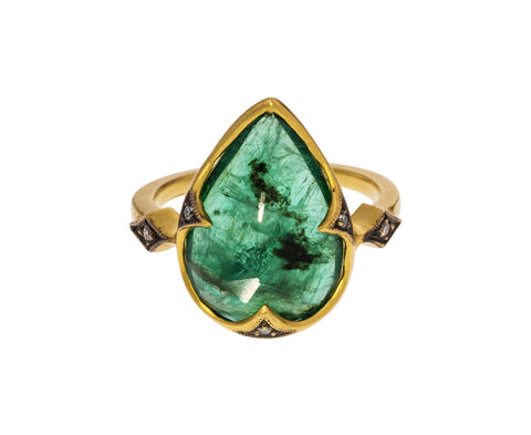 Emerald Thorn Prong Ring