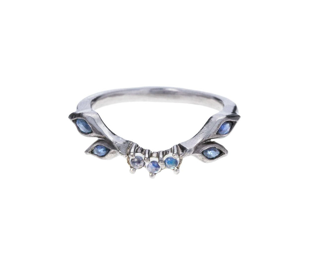 Sapphire and Moonstone Curved Ring - TWISTonline