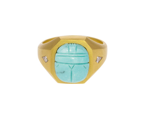 Carved Turquoise Scarab Ring with Diamonds