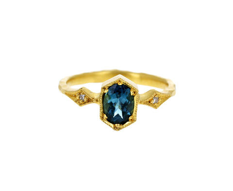 Teal Sapphire Shield Ring
