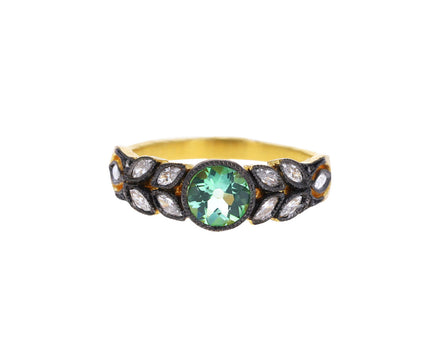 Mint Tourmaline and Diamond Small Garland Ring