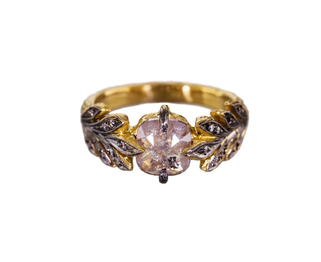 Rustic Diamond Leafside Ring zoom 1_cathy_waterman_designer_engagement_rings